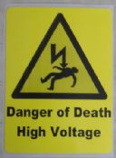 Danger of Death, High Voltage, Warning Labels